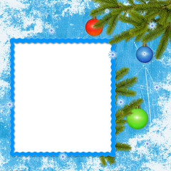 White frame with branches, ball on the blue background