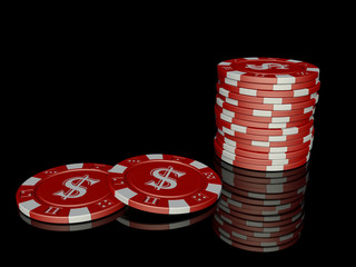 3D Poker Chips with reflection