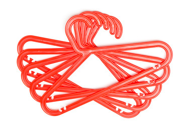 Bright red plastic coat hanger for hanger clothes