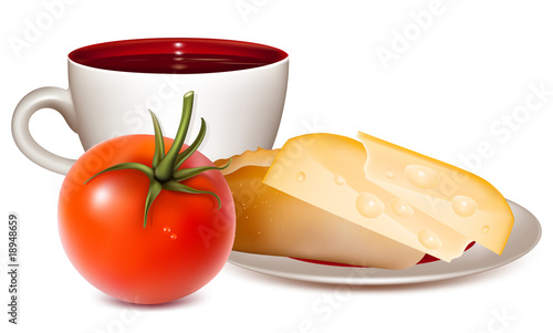 Vector illustration. Cup of tea, bread, cheese and tomato.