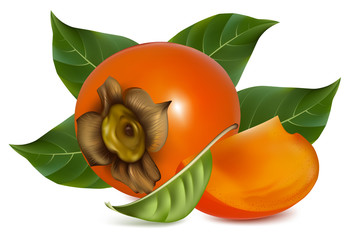 Photorealistic vector illustration. Persimmons with leaves.
