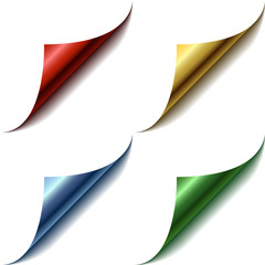 Vector set of curled glossy page corners.
