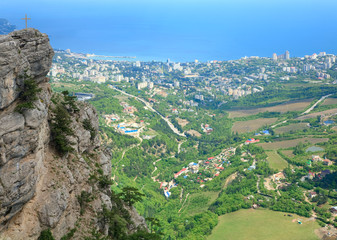 view of Yalta city from slope of Aj-Petri Mount (Ukraine)