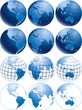 Vector illustration of three different shiny blue Earth globes