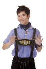 Man in Bavarian Oktoberfest Leather trousers (Lederhose)