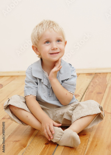 sitting little boy