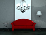 Red sofa with table, stand lamp and luxury chandelier in minimal poster