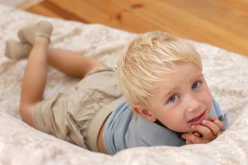 Little boy on the sofa