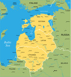 Vector color map of Baltic states poster