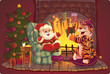 Santa and Tiger Greeting card with symbols of New Year
