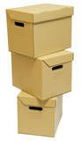 Three cardboard boxes stack for a moving day poster