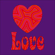 Love & Heart in Groovy Swirls