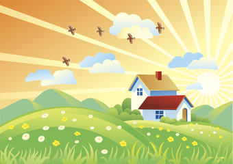 Summer sunset with houses and a flying flock of birds