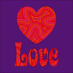 Love & Heart in Groovy Swirls