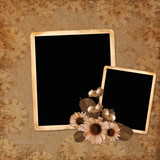 background with frame and flowers