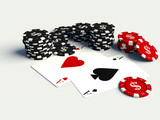 3D poker chips with playing cards