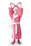 Small girl stands in the pink Bathrobe of Bunny poster