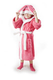 Small girl stands in the pink Bathrobe of rabbit poster