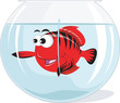Illustration of a fish in a glass aquarium