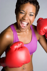 Yelling Boxing Woman