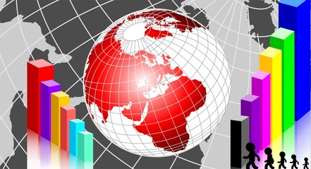 Illustration of a globe and block graph