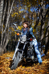The brunette girl and power motorcycle