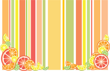 Striped background with citrus fruits