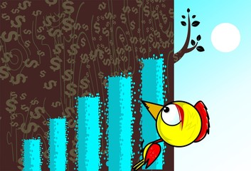 Illustration of a wood pecker sitting on a block graph