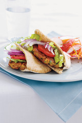 santa fe falafel with carrot, radish and grapefruit salad