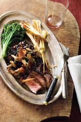 charred steak with mushroom vinaigrette