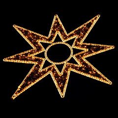 Illuminated Christmas Star Decoration on Black