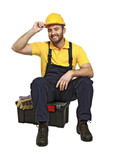 handyman sit on his toolbox