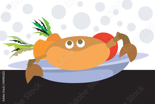 Illustration of crab with salad in a plate