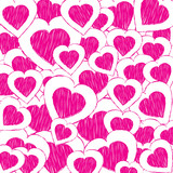 doodle valentine heart background poster