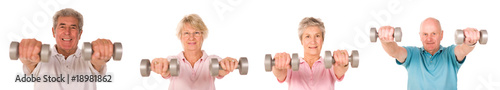 Older mature group of people at the gym