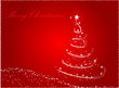 Red abstract christmas tree background with wave