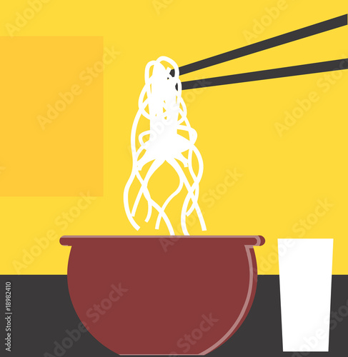 chopsticks ad swirl of noodles in radiant light