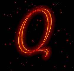 Fire font. Letter Q from alphabet