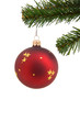 Red christmas ball in tree over white background