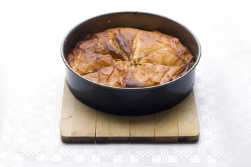 filo pie in baking pan
