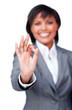 Success businesswoman showing OK sign