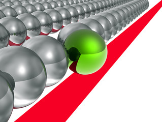 3d green ball crosses the red line