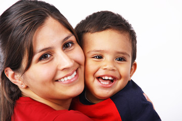 Mother & Toddler Smiling Faces Close-Up