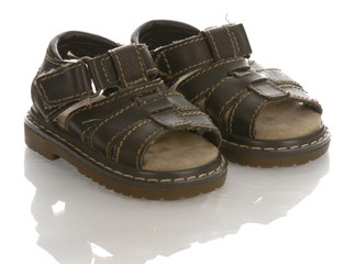 leather infant or baby sandals with reflection