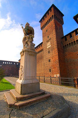 The tower of Bona of Savoy and statue of pope, sforzesco castle,