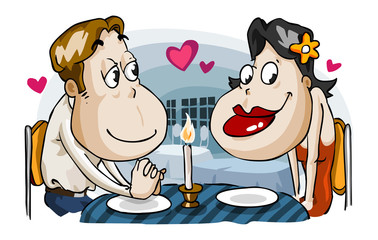 Romantic candle light dinner of lovers.