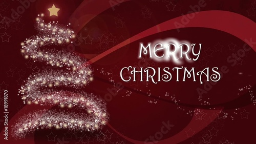 Animated christmas background with animated christmas tree