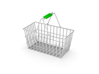 Empty shopping basket isolated on white