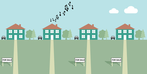 House playing load music with neighbours for sale signs