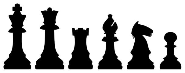 Pièces d'Echecs  - Chess Pieces (Silhouette - Jeu - Vecteur)